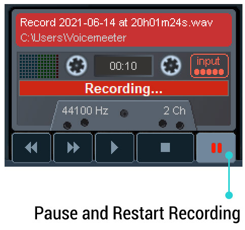Pause and Restart Recording